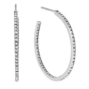 Michael Kors Silver Pave Crystal Hoop Earrings